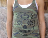 Workout Camo Tank Black Sugar Skull   cf tank ,workout tank , women's tank ,running tank