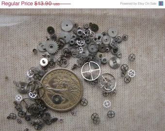 Vintage Tiny metal gears / Steampunk Gears / Altered Art Industrial Mixed Media Assemblage / silver color Watch Gears / Watch parts ww8h
