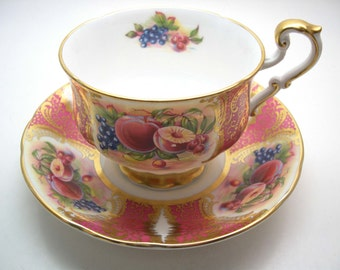 Pink Paragon Tea Cup and Saucer,  Pink with fruits  tea cup and saucer set,  English Bone China.