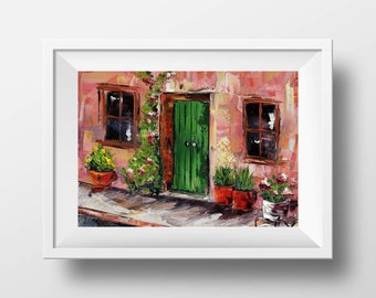 Provence France Print, French Pretty House Giclee, Quaint Rustic, French Country Art, 5x7, 8x10, 11x14, 12x16 Print of Original Oil Painting