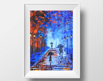Paris Print, Paris Art, Evening Sunset, Stroll in the Park, Umbrellas, Lamp Posts, Reflections, Palette Knife Art, 5x7, 8x10, 11x14, 12x16