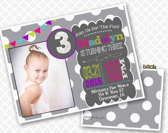 Polka Dot Birthday Invitation Girly Birthday Party Invite