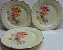 Crooksville Pantry Bak-In 1238 Plate Set Yellow Pink Floral Cream Porcelain Gilded 3 Luncheon & 1 Dinner
