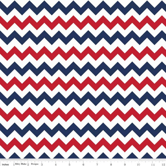 Red White Blue Small Chevron Fabric - Patriotic or 4th July by ...