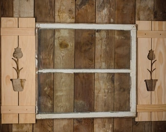 Exterior Tulip Shutter made of Premium Pine perfect for your Cabin, cottage, or Garden Shed great rustic northwoods decor