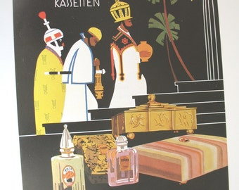 Dralle perfume advert, reproduction of vintage Art Deco advertisement, artist Tibor Rez, perfume bottles picture, three wise men, colour ad