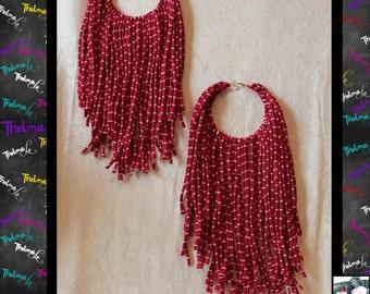 Stripped Fringe Earrings,Handmade Earrings,Long Fringe,Big Hoop,Unique Earrings,Upcycle,Funky,Lite Weight