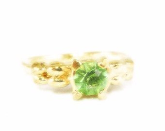 Delicate Lime Green Rhinestone and Yellow Gold Tone Ring - Size 7