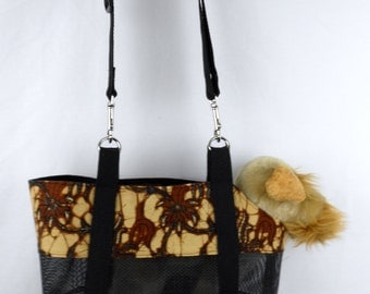 SEE THROUGH Batik Pet Carrier with Adjustable Strap and Removable Bottom Foam