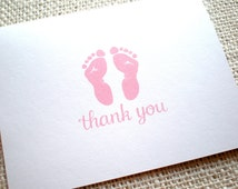 Set of 10 Baby Thank You Cards - Hand Drawn Pink Baby Girl Footprints Baby Shower Thank You Note Cards with Envelopes