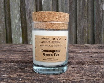 Lemongrass Green Tea, Soy Candle, 65 hour burn time, Cork Top, Decorative Candle, Natural Candle, Highly Scented, Gift
