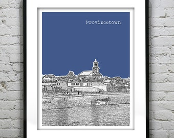 Provincetown Cape Cod Skyline Poster Art Print Massachusetts MA Version 1