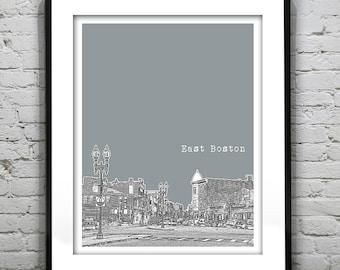 East Boston MA City Skyline Poster Art Print Massachusetts