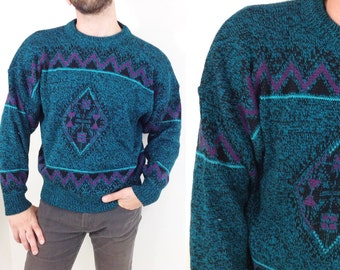Vintage Turquoise & Purple Diamond Pattern Sweater