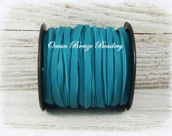 3mm Flat Leather Lace . Turquoise . Super Soft Deertan Lace . 6 feet or 9 feet . Great Tassel Leather