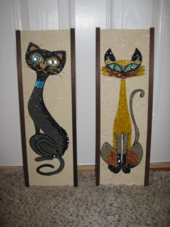 1950 39 S 60 39 S Art Deco Cat Wall Decor Pair Wall Decor