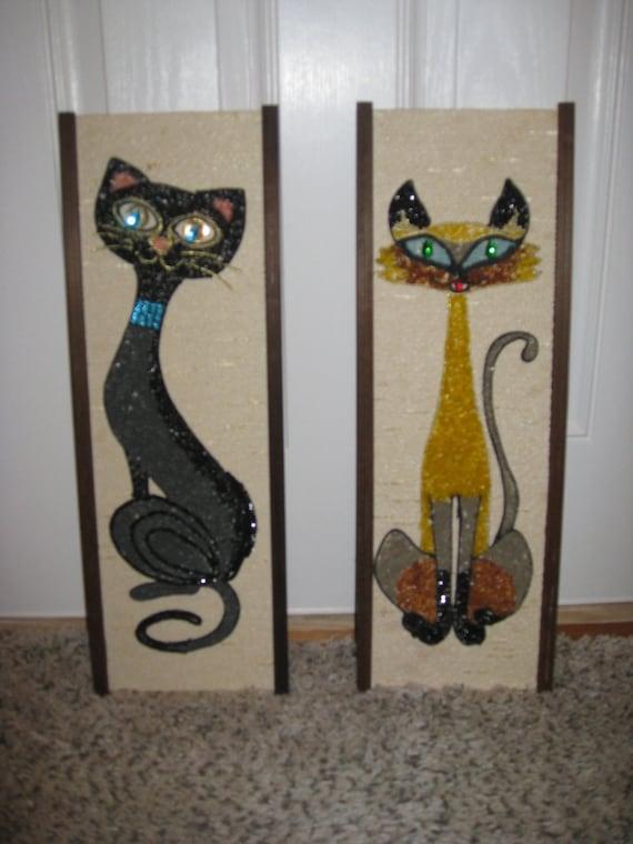 1950 39 s 60 39 s art deco cat wall decor pair wall decor