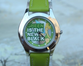 "Girls Disney Tinkerbell ""Green is the New Black"" Quartz Watch"