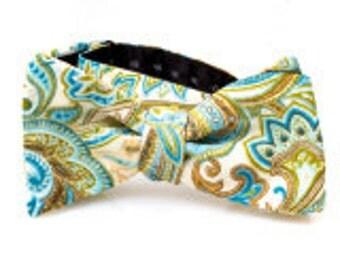 Cream Paisley Self Tie Bow Tie