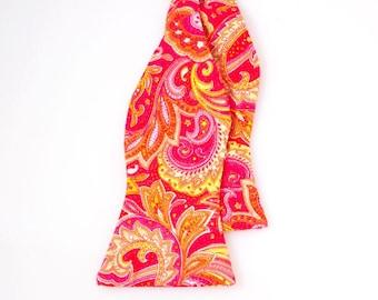 Jumbo Pink/Red/Yellow/Orange/Green/White Paisley Bow Tie