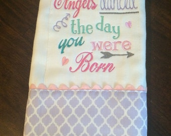 Angels danced burp cloth