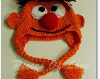 Crochet Muppet Hat Crochet Ernie Hat Bert And Ernie Sesame Street Accessories Boy's Hat Man's Hat Funny Hat Funny Present Orange Hat
