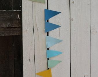 Sewn mini paper flag garland