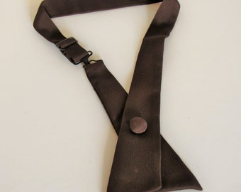 Vintage Women's Adjustable Brown Criss Cross Continental Neck Tie
