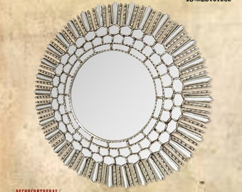 """Large Round Decorative wall Mirror Cuzco style 31.5""""H - Silver Carved Wood mirrors - Sunburst frame covered with silver leaf- Mirrors Ornate"""