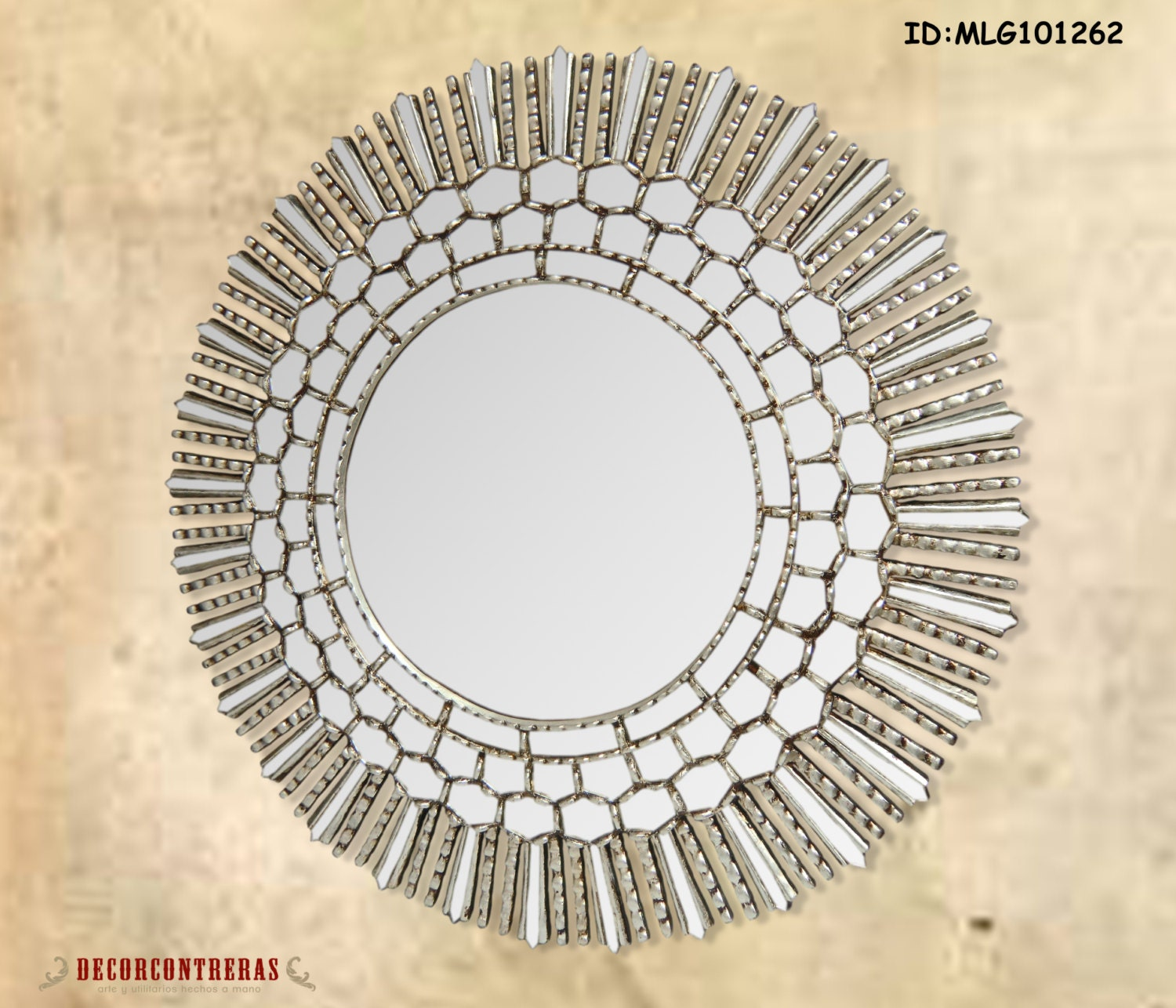 Large round decorative wall mirror cuzco style 31 5h for Large round decorative mirror