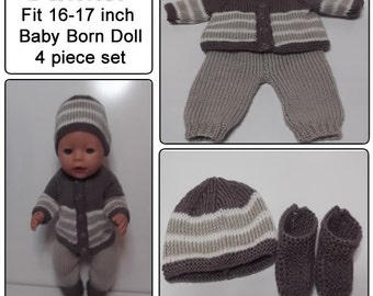 TANNER (NEW) To fit Baby Born and similar size dolls Knitting pattern only