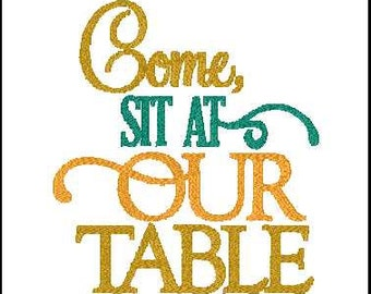 set at our table embroidery design fall embroidery design  fall embroidery phrase