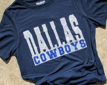 Dallas Cowboys Glitzy Bling Navy T-Shirt with Brilliant sparkling silver and dark blue High Sparkle Glitter  on a Navy Shirt