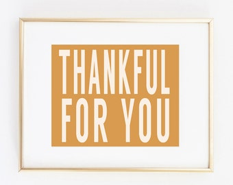 thankful for you 8x10 art print instant download