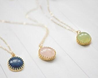 Dainty Gemstone Brass Pendant Necklace In Gold