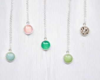 Dainty Sterling Silver Gemstone Pendant Necklace