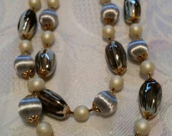 Silver,white beaded necklace