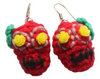 Earrings with red crochet skull Dias de los Muertos