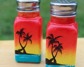 Beautiful Hand Painted Salt & Pepper Shakers Paradise Sunset