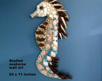 Seashell art Seahorse Wall decor_beach decor_shell wall art