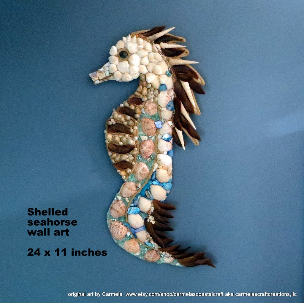 seashell art seahorse wall decor beach by carmelascoastalcraft. Black Bedroom Furniture Sets. Home Design Ideas