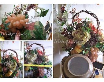 Corner Bistro Floral Arrangement, Dual Function Gourmet Style in Handmade Stoneware, Removable Original Woodland Mosaics Silk Leaf Container