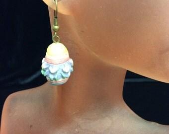 Vintage Colorful Easter Egg Dangle Earrings