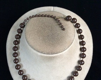 Vintage Brown Beaded Necklace