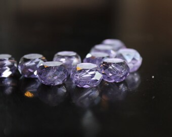 10 frosted glass flat round faceted beads, light purple color, 12 mm x 7 mm, hole 2 mm
