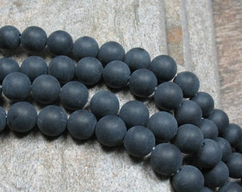 Black Agate Beads 10 mm Frosted - Full Strand - Item B0462