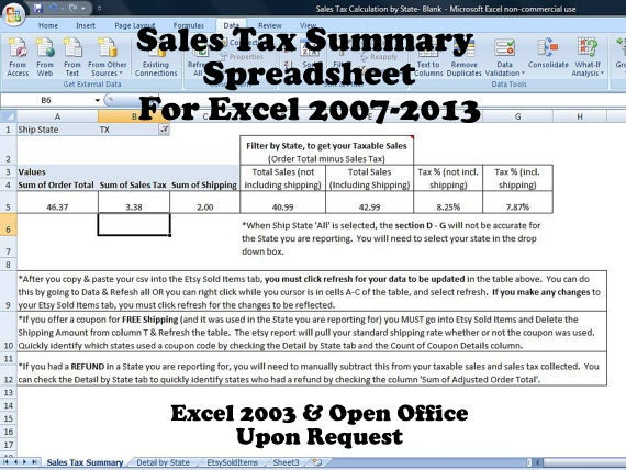 Sales Tax Summary Spreadsheet for Etsy Sellers Template