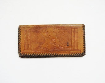Southwest Bifold Wallet // Tooled Leather 1970's Wallet // Vintage Accessory