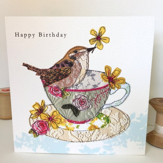 Wren for Tea-Greeting Card- handfinished
