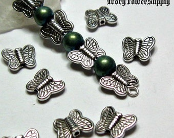 30 Butterfly Spacer Beads, Metal Beads, Butterfly Beads, Tibetan Silver Beads, Animal beads, Antique Silver Spacer Beads 8x10x3mm